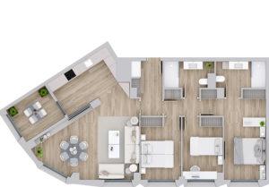 Planta vivienda tipo G de 3 dormitorios Edificio San Ignacio de Pamplona. Construcciones San martín, S.A.